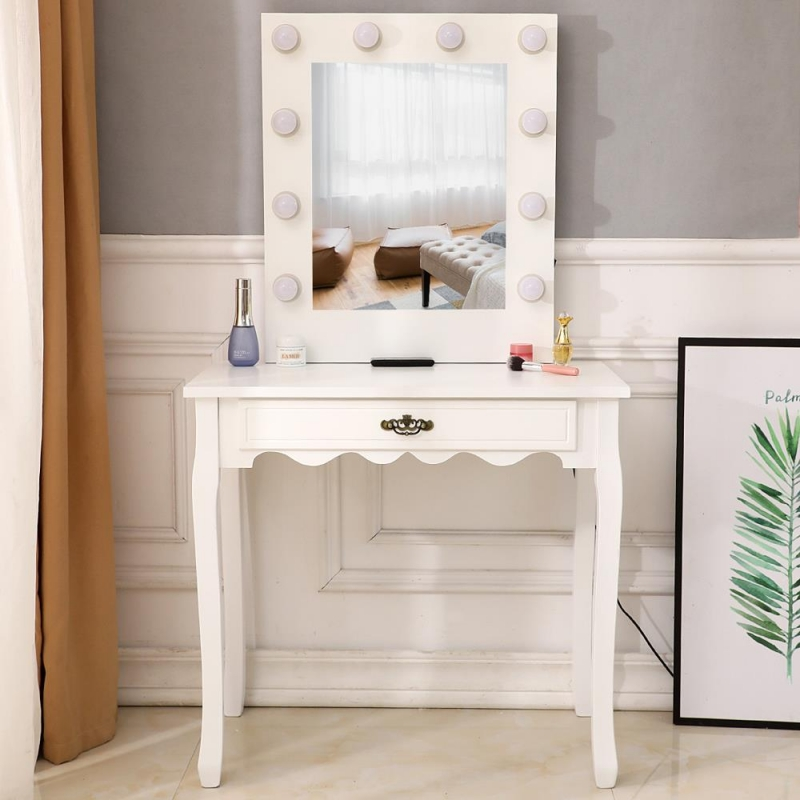 zimtown vanity dressing table with 10 led lights makeup