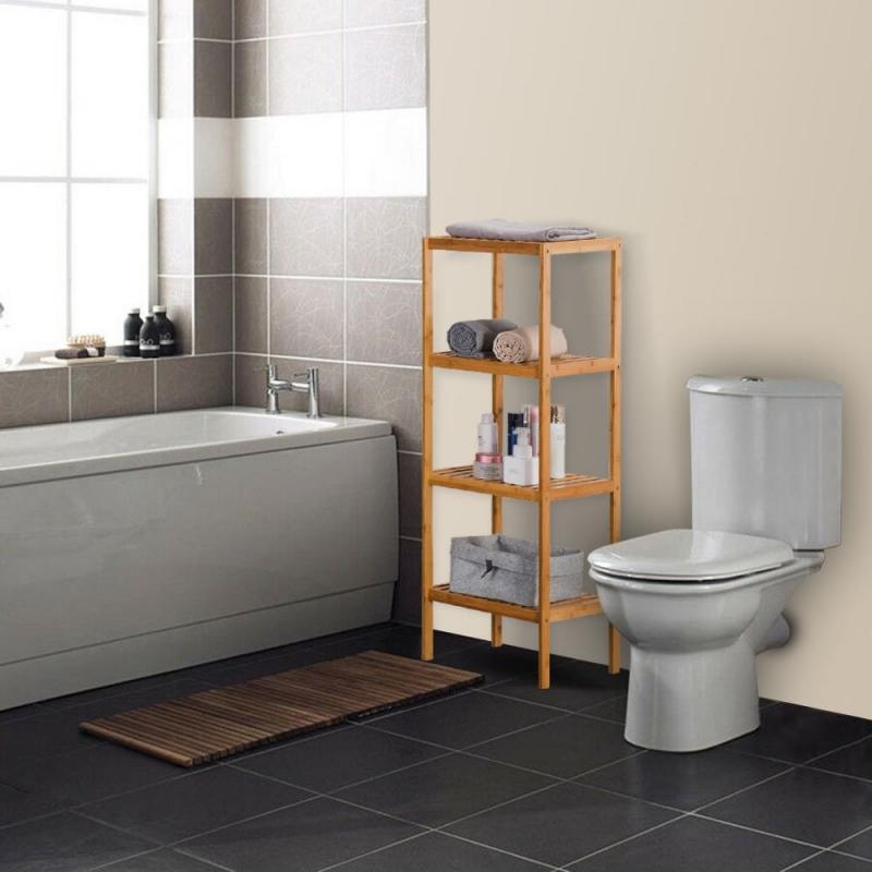 zimtown bamboo shelving unit bathroom corner rack shelf
