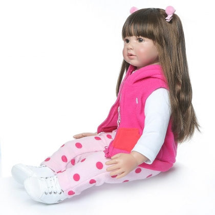 "US 24/"" Beautiful Simulation Long Hair Girl Wearing a Deer Dress Doll Toys Gift"